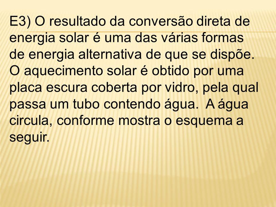 E3) O resultado da conversão direta de energia solar é uma das várias formas de energia alternativa de que se dispõe.