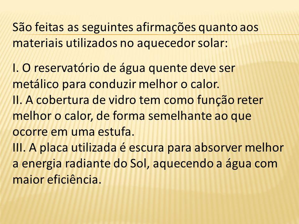 São feitas as seguintes afirmações quanto aos materiais utilizados no aquecedor solar: I. O reservatório de água quente deve ser metálico para conduzi