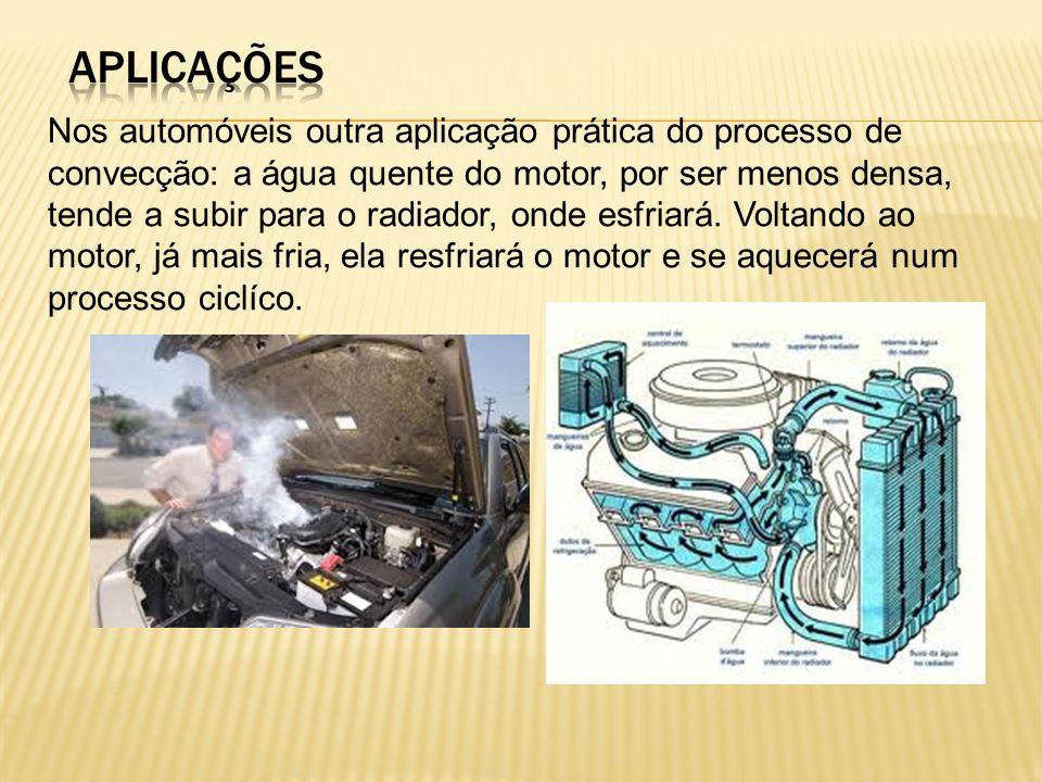 Nos automóveis outra aplicação prática do processo de convecção: a água quente do motor, por ser menos densa, tende a subir para o radiador, onde esfriará.
