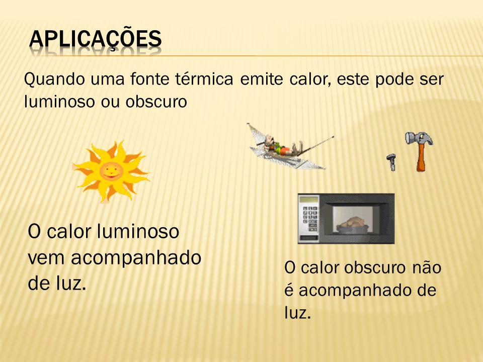 Quando uma fonte térmica emite calor, este pode ser luminoso ou obscuro O calor luminoso vem acompanhado de luz. O calor obscuro não é acompanhado de