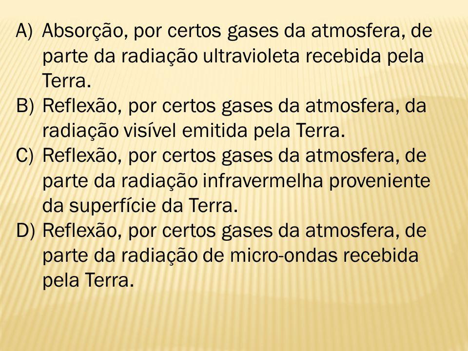 A)Absorção, por certos gases da atmosfera, de parte da radiação ultravioleta recebida pela Terra. B)Reflexão, por certos gases da atmosfera, da radiaç