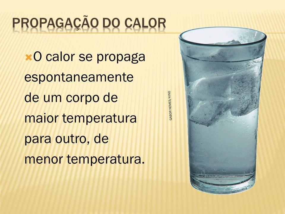 O calor se propaga espontaneamente de um corpo de maior temperatura para outro, de menor temperatura.