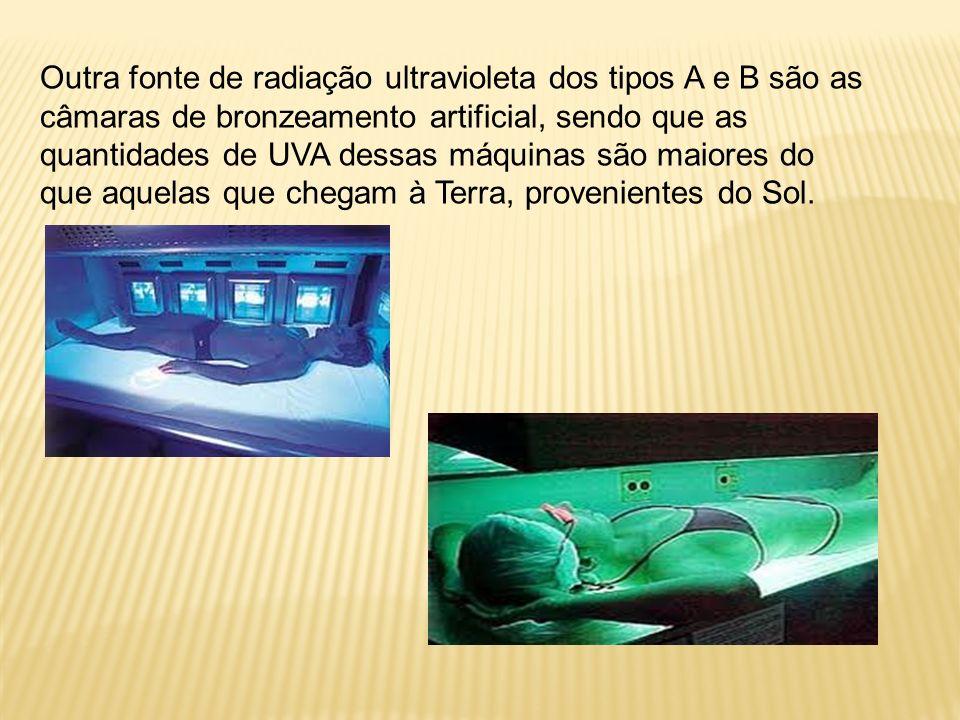 Outra fonte de radiação ultravioleta dos tipos A e B são as câmaras de bronzeamento artificial, sendo que as quantidades de UVA dessas máquinas são maiores do que aquelas que chegam à Terra, provenientes do Sol.