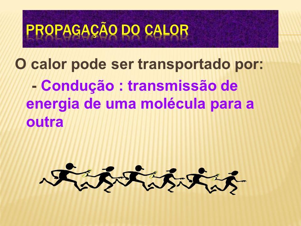 O calor pode ser transportado por: - Condução : transmissão de energia de uma molécula para a outra