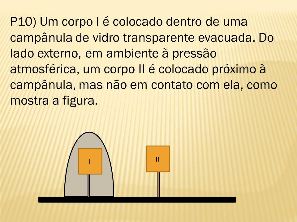 P10) Um corpo I é colocado dentro de uma campânula de vidro transparente evacuada. Do lado externo, em ambiente à pressão atmosférica, um corpo II é c