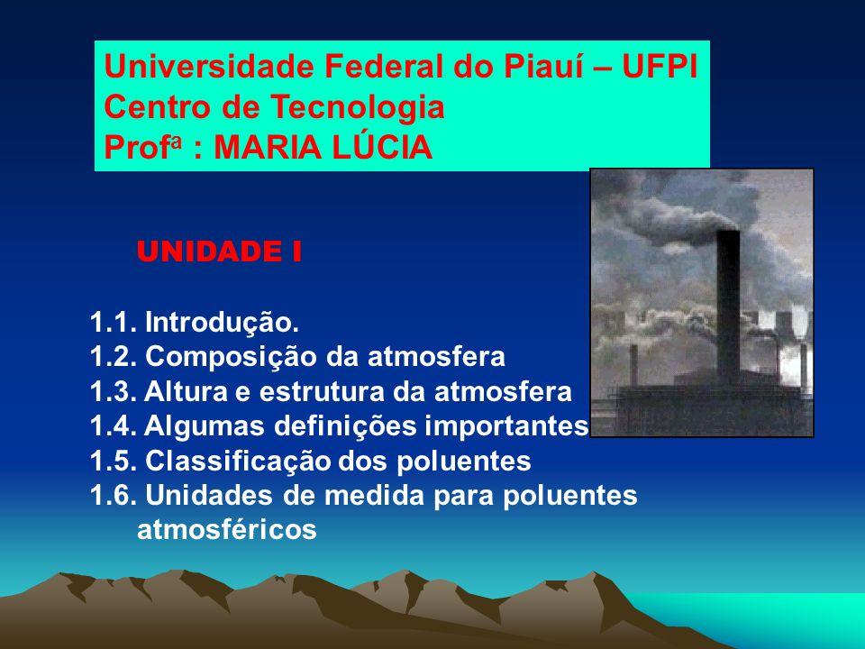 Universidade Federal do Piauí – UFPI Centro de Tecnologia Prof a : MARIA LÚCIA UNIDADE I 1.1. Introdução. 1.2. Composição da atmosfera 1.3. Altura e e
