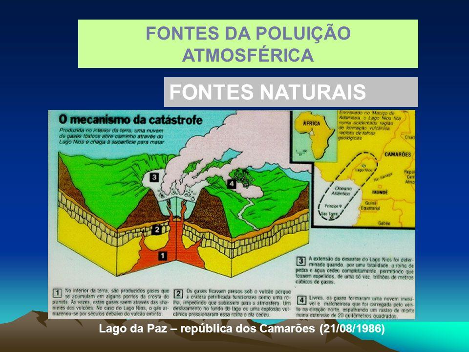FONTES DA POLUIÇÃO ATMOSFÉRICA FONTES NATURAIS Lago da Paz – república dos Camarões (21/08/1986)