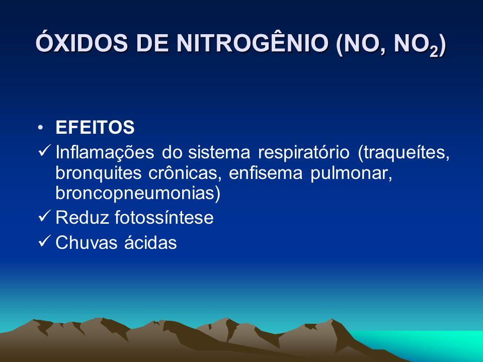EFEITOS Inflamações do sistema respiratório (traqueítes, bronquites crônicas, enfisema pulmonar, broncopneumonias) Reduz fotossíntese Chuvas ácidas