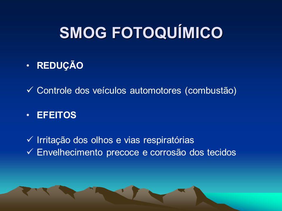 SMOG FOTOQUÍMICO REDUÇÃO Controle dos veículos automotores (combustão) EFEITOS Irritação dos olhos e vias respiratórias Envelhecimento precoce e corro