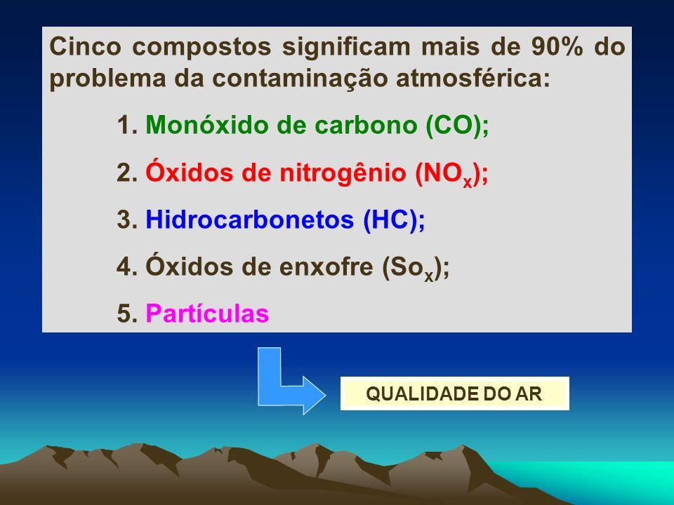Cinco compostos significam mais de 90% do problema da contaminação atmosférica: 1. Monóxido de carbono (CO); 2. Óxidos de nitrogênio (NO x ); 3. Hidro