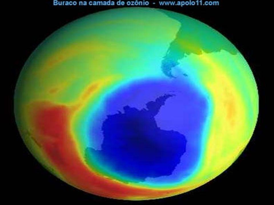 BURACO NA CAMADA DE OZÔNIO PROVOCADO PELA LIBERAÇÃO EXCESSIVA DE CFC (CLOROFLUORCARBONO) LIBERADO POR: TURBINA DE AVIÃO SUPERSÔNICO MOTORES DE GELADEI