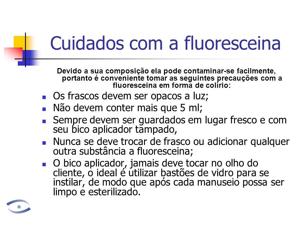 Cuidados com a fluoresceina Devido a sua composição ela pode contaminar-se facilmente, portanto é conveniente tomar as seguintes precauções com a fluo