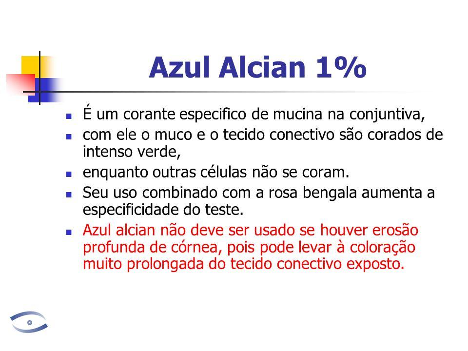 Azul Alcian 1% É um corante especifico de mucina na conjuntiva, com ele o muco e o tecido conectivo são corados de intenso verde, enquanto outras célu