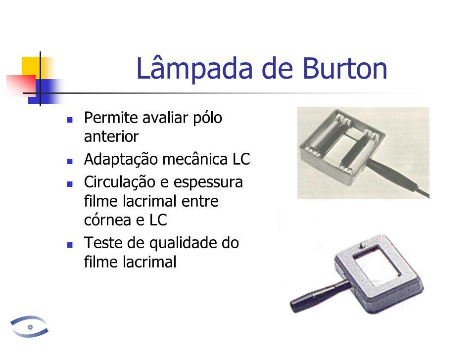 Lâmpada de Burton Permite avaliar pólo anterior Adaptação mecânica LC Circulação e espessura filme lacrimal entre córnea e LC Teste de qualidade do filme lacrimal