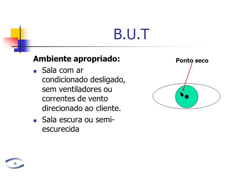 B.U.T Ambiente apropriado: Sala com ar condicionado desligado, sem ventiladores ou correntes de vento direcionado ao cliente. Sala escura ou semi- esc