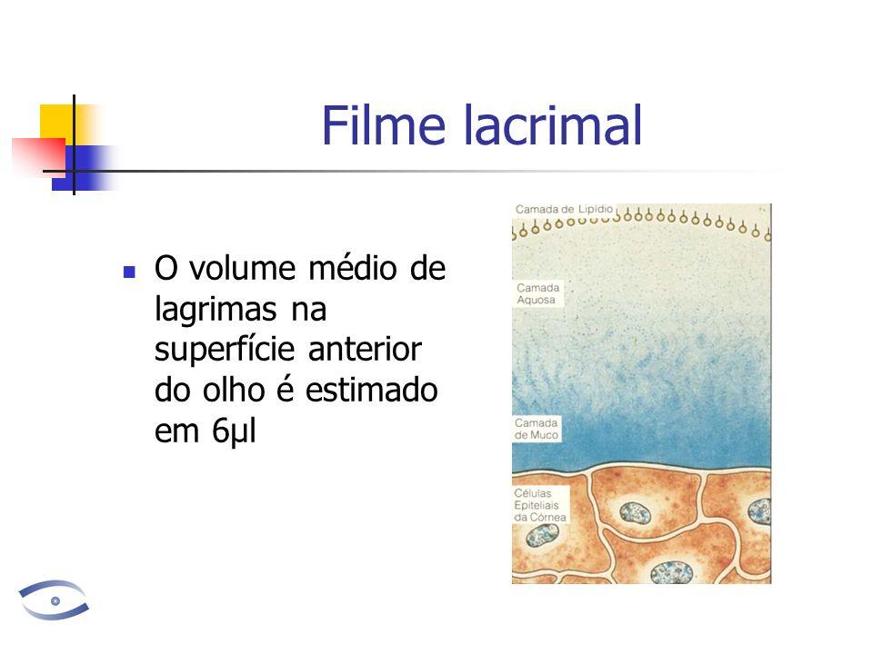 Filme lacrimal O volume renovado a cada minuto é de 1,2 µl Ou seja, a cada 5 minutos ele é totalmente renovado