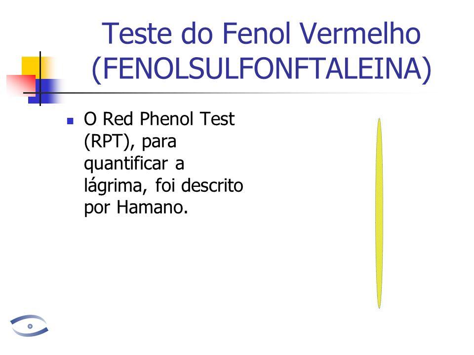 Teste do Fenol Vermelho (FENOLSULFONFTALEINA) O Red Phenol Test (RPT), para quantificar a lágrima, foi descrito por Hamano.