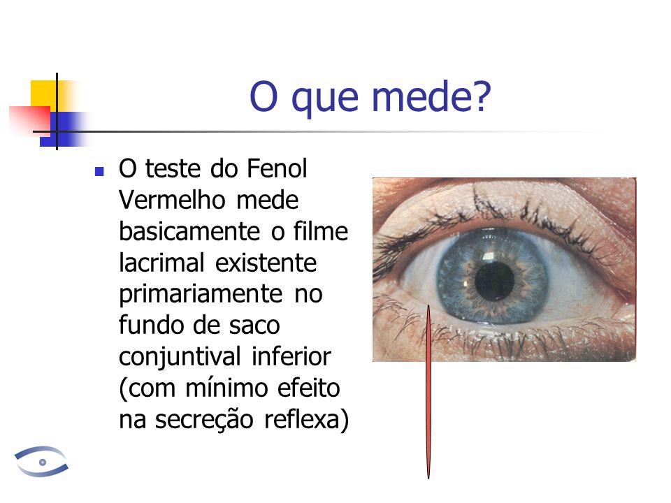 O que mede? O teste do Fenol Vermelho mede basicamente o filme lacrimal existente primariamente no fundo de saco conjuntival inferior (com mínimo efei