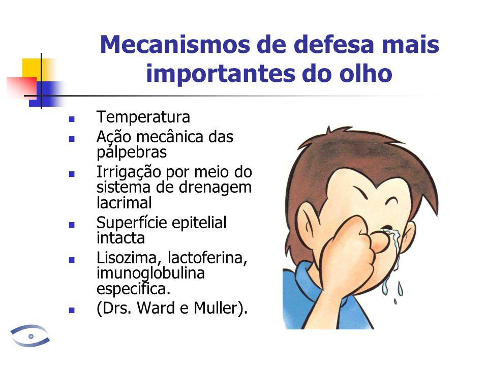 Mecanismos de defesa mais importantes do olho Temperatura Ação mecânica das pálpebras Irrigação por meio do sistema de drenagem lacrimal Superfície ep