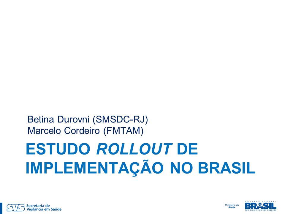 ESTUDO ROLLOUT DE IMPLEMENTAÇÃO NO BRASIL Betina Durovni (SMSDC-RJ) Marcelo Cordeiro (FMTAM)