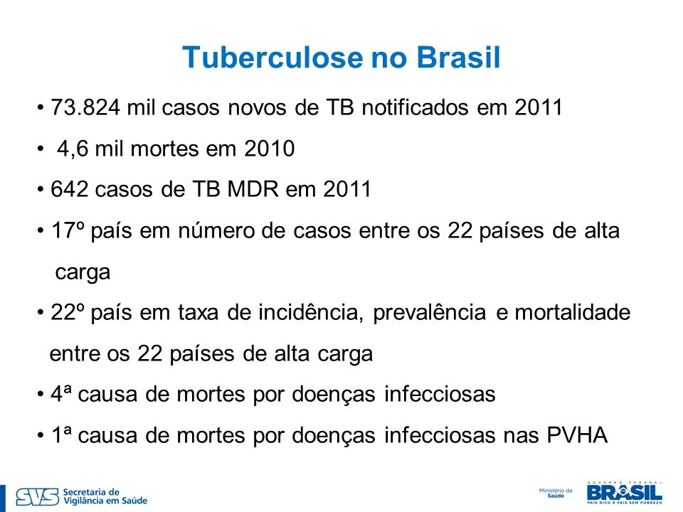 Tuberculose no Brasil 73.824 mil casos novos de TB notificados em 2011 4,6 mil mortes em 2010 642 casos de TB MDR em 2011 17º país em número de casos