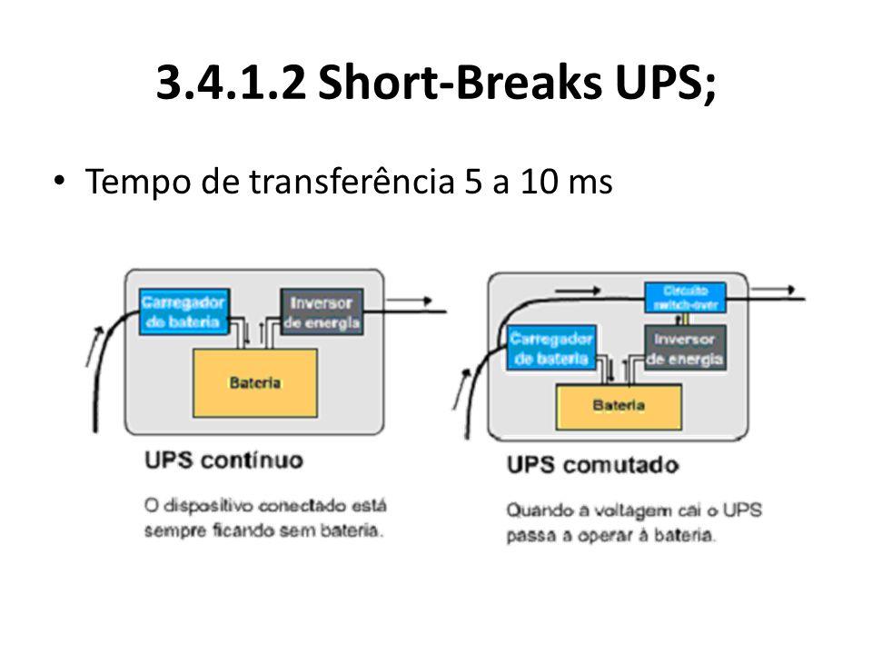 3.4.1.2 Short-Breaks UPS; Tempo de transferência 5 a 10 ms