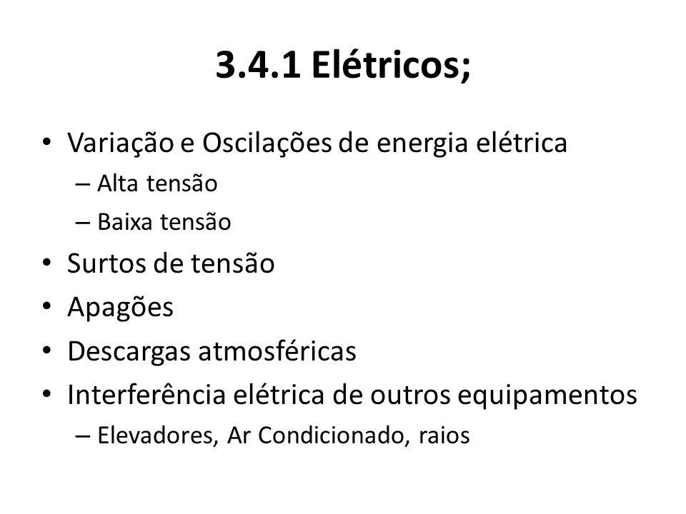 3.4.1 Elétricos; Variação e Oscilações de energia elétrica – Alta tensão – Baixa tensão Surtos de tensão Apagões Descargas atmosféricas Interferência elétrica de outros equipamentos – Elevadores, Ar Condicionado, raios