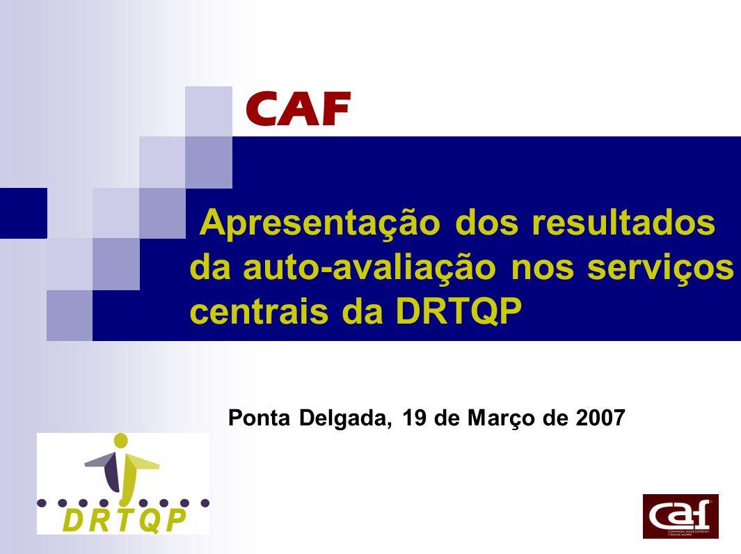 CAF Apresentação dos resultados da auto-avaliação nos serviços centrais da DRTQP Ponta Delgada, 19 de Março de 2007