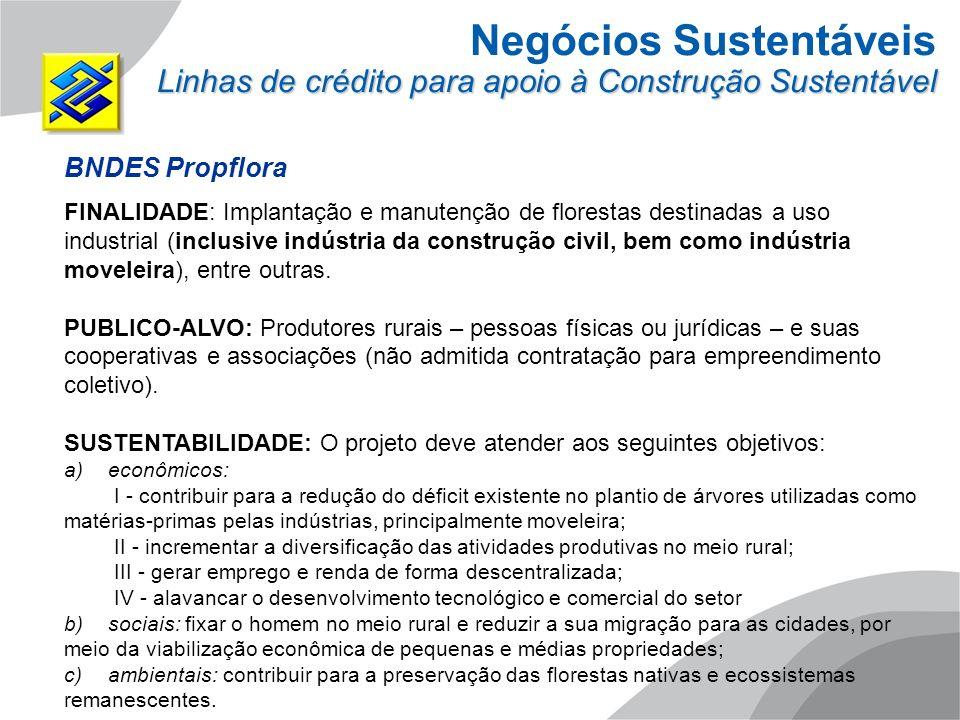 Negócios Sustentáveis Linhas de crédito para apoio à Construção Sustentável BNDES Propflora FINALIDADE: Implantação e manutenção de florestas destinad