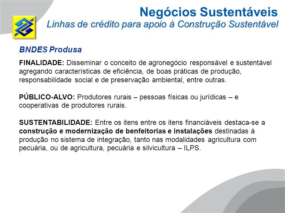 Negócios Sustentáveis Linhas de crédito para apoio à Construção Sustentável BNDES Produsa FINALIDADE: Disseminar o conceito de agronegócio responsável