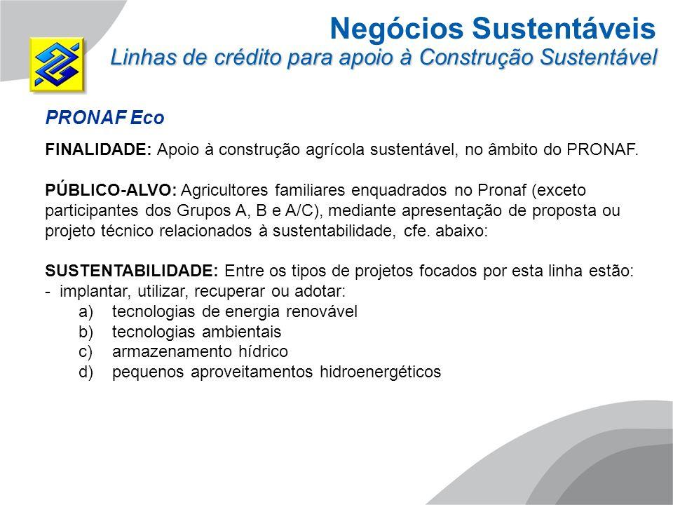 Negócios Sustentáveis Linhas de crédito para apoio à Construção Sustentável PRONAF Eco FINALIDADE: Apoio à construção agrícola sustentável, no âmbito