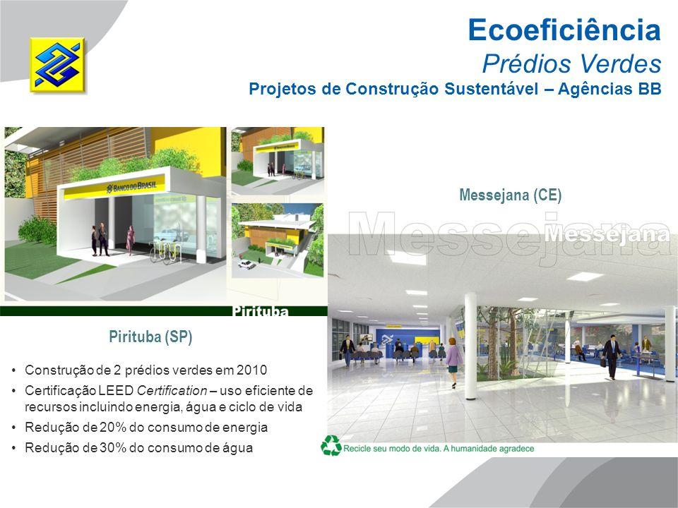 Pirituba (SP) Messejana (CE) Ecoeficiência Prédios Verdes Projetos de Construção Sustentável – Agências BB Construção de 2 prédios verdes em 2010 Cert