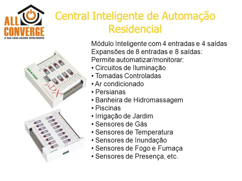 Central Inteligente de Automação Residencial Módulo Inteligente com 4 entradas e 4 saídas Expansões de 8 entradas e 8 saídas: Permite automatizar/moni