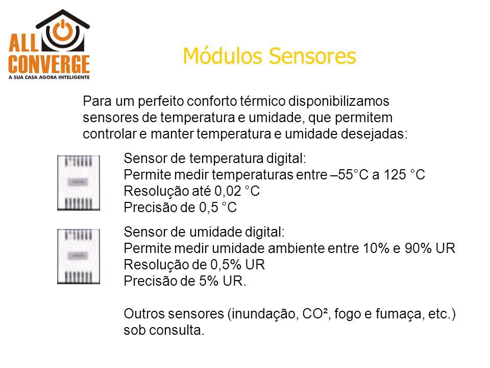 Módulos Sensores Sensor de temperatura digital: Permite medir temperaturas entre –55°C a 125 °C Resolução até 0,02 °C Precisão de 0,5 °C Sensor de umidade digital: Permite medir umidade ambiente entre 10% e 90% UR Resolução de 0,5% UR Precisão de 5% UR.
