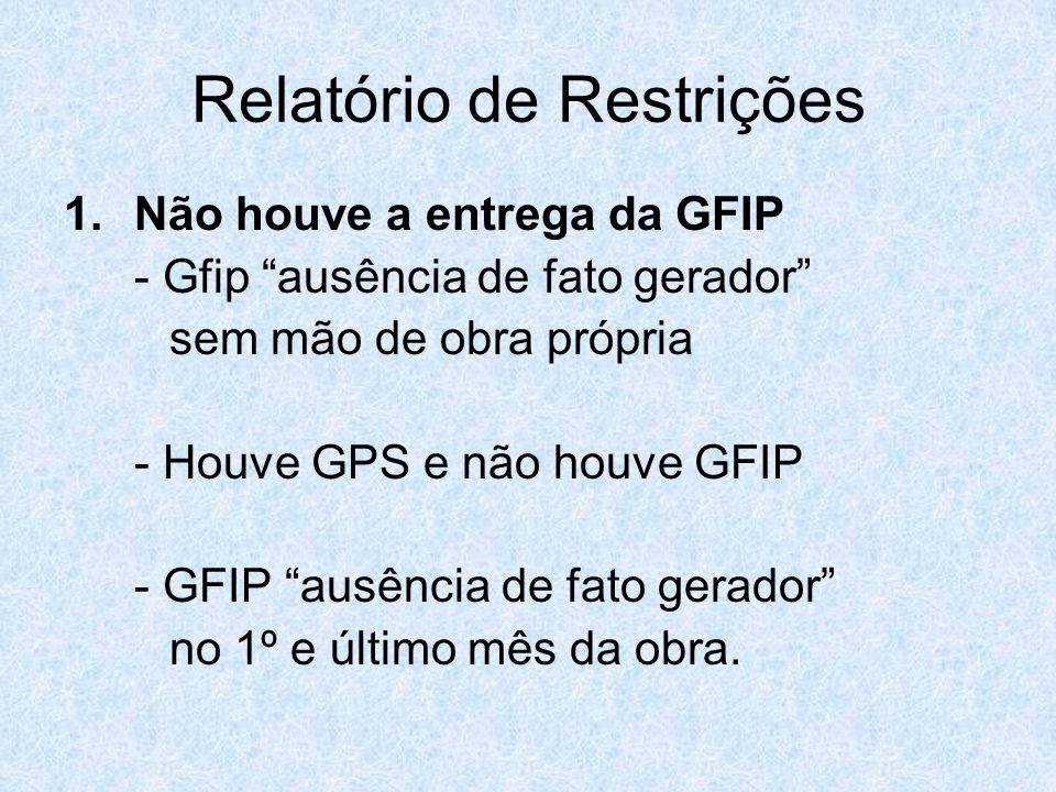 Relatório de Restrições 1.Não houve a entrega da GFIP - Gfip ausência de fato gerador sem mão de obra própria - Houve GPS e não houve GFIP - GFIP ausê
