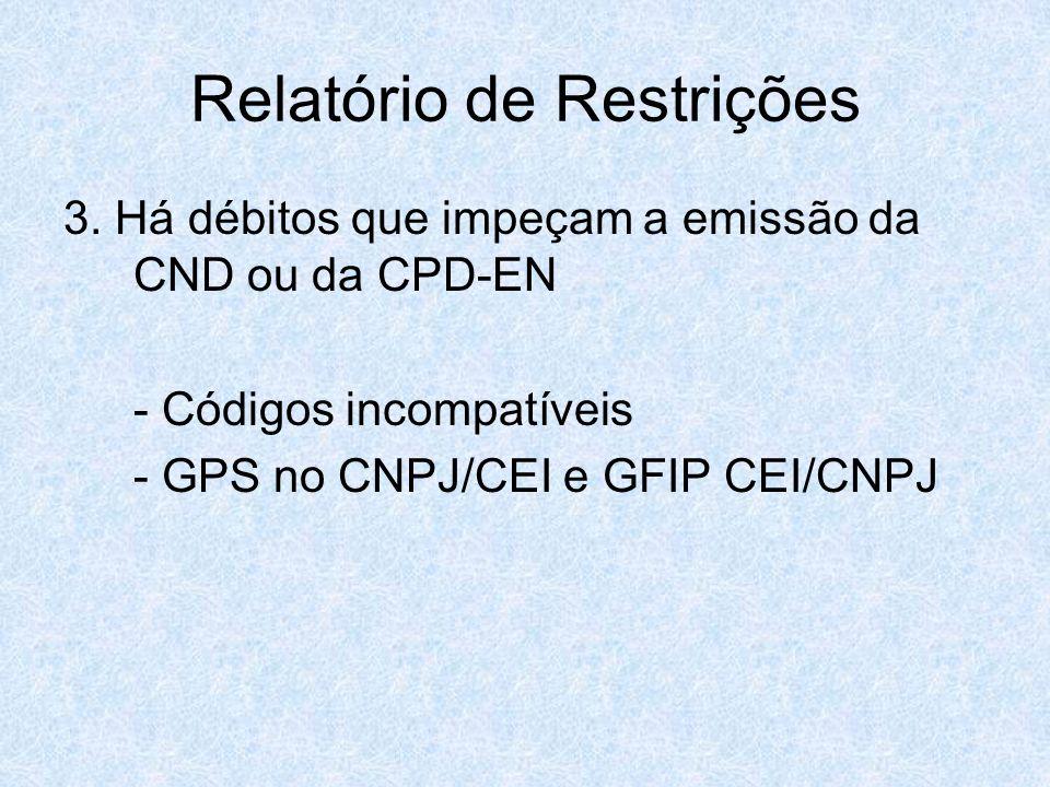 Relatório de Restrições 3. Há débitos que impeçam a emissão da CND ou da CPD-EN - Códigos incompatíveis - GPS no CNPJ/CEI e GFIP CEI/CNPJ