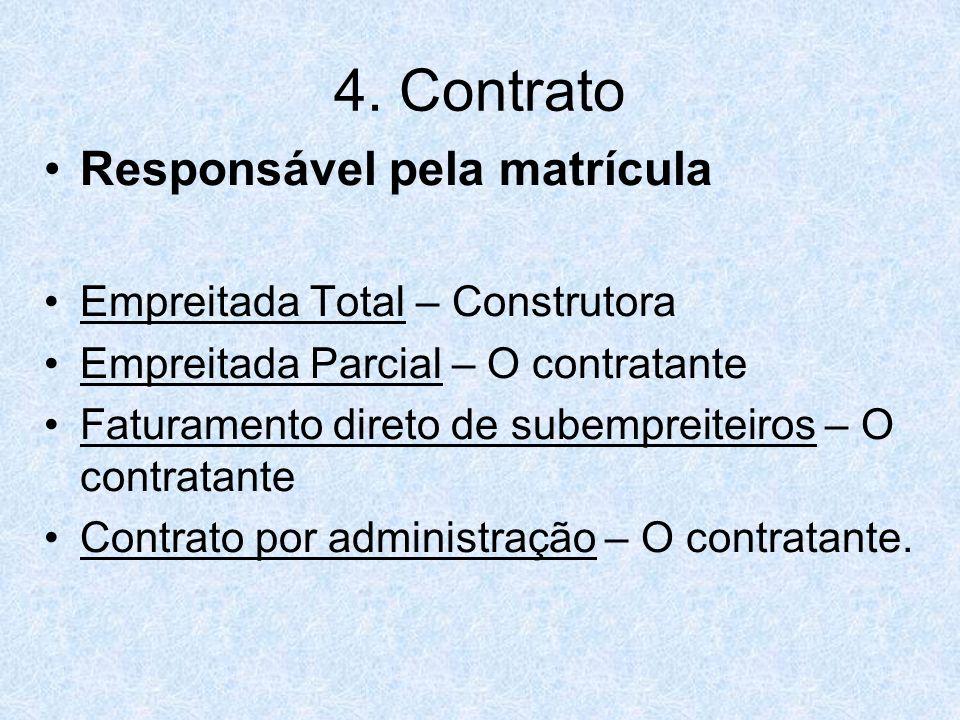 4. Contrato Responsável pela matrícula Empreitada Total – Construtora Empreitada Parcial – O contratante Faturamento direto de subempreiteiros – O con