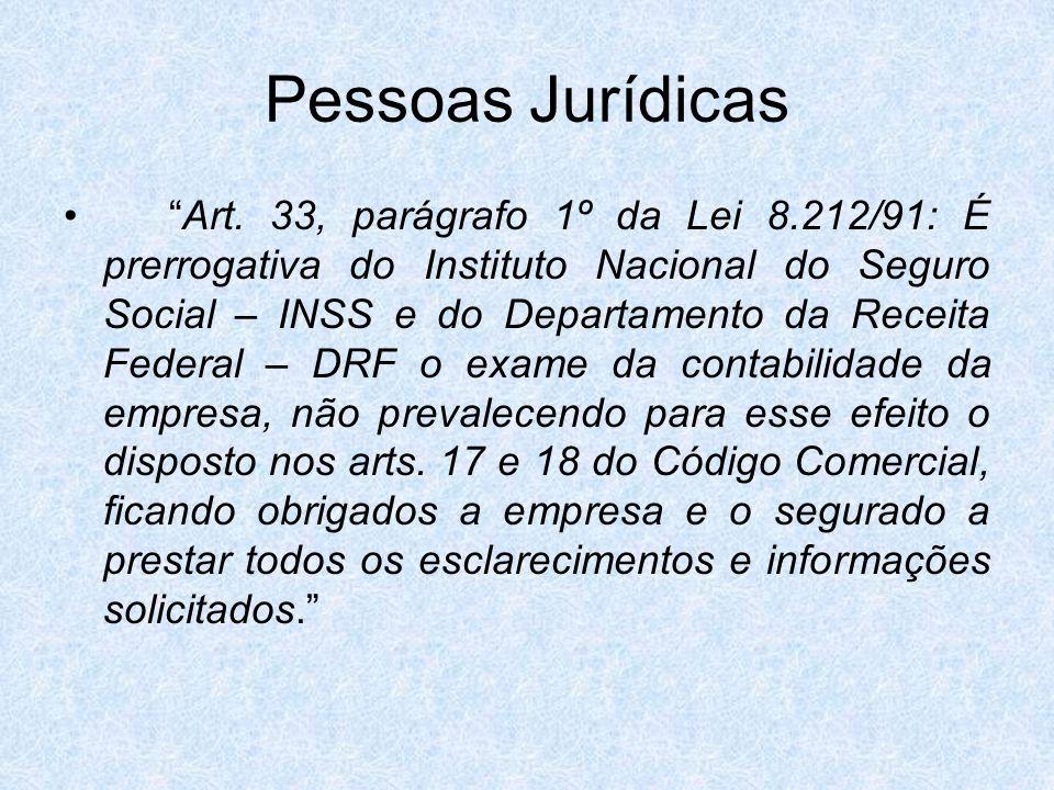Pessoas Jurídicas Art. 33, parágrafo 1º da Lei 8.212/91: É prerrogativa do Instituto Nacional do Seguro Social – INSS e do Departamento da Receita Fed