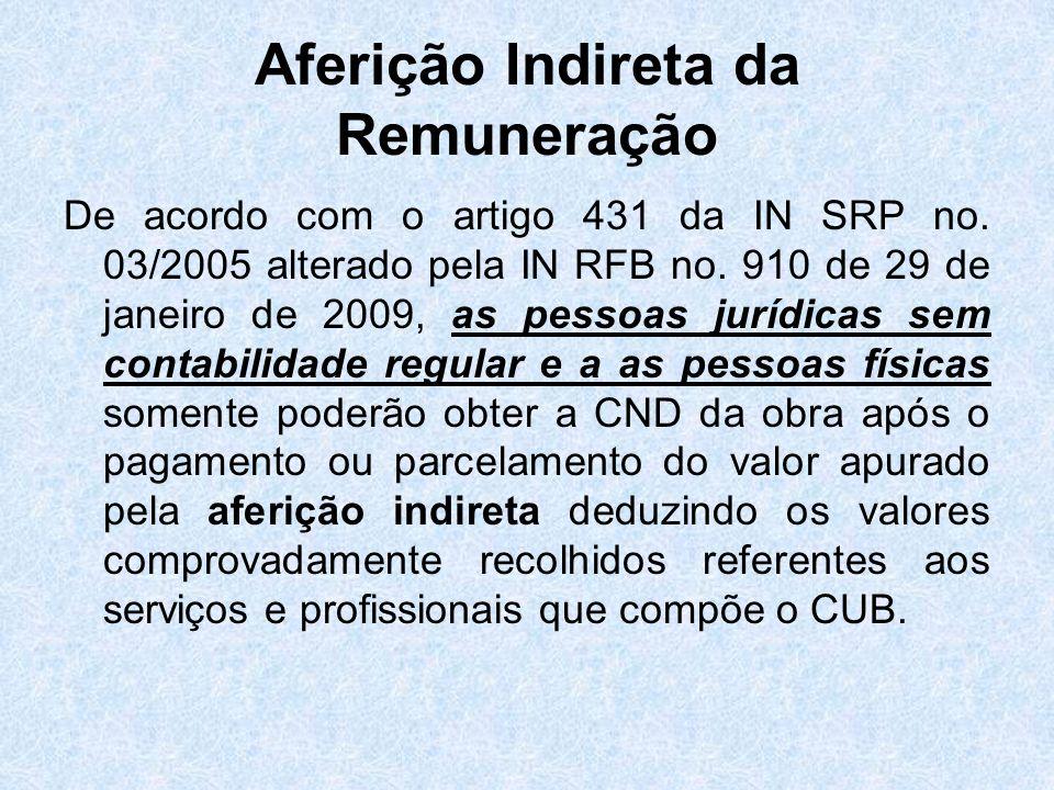 Aferição Indireta da Remuneração De acordo com o artigo 431 da IN SRP no. 03/2005 alterado pela IN RFB no. 910 de 29 de janeiro de 2009, as pessoas ju