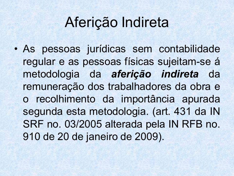 Aferição Indireta As pessoas jurídicas sem contabilidade regular e as pessoas físicas sujeitam-se á metodologia da aferição indireta da remuneração do