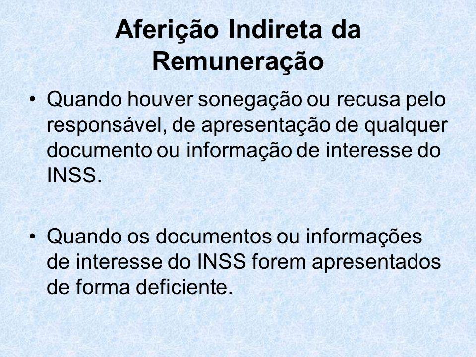Aferição Indireta da Remuneração Quando houver sonegação ou recusa pelo responsável, de apresentação de qualquer documento ou informação de interesse
