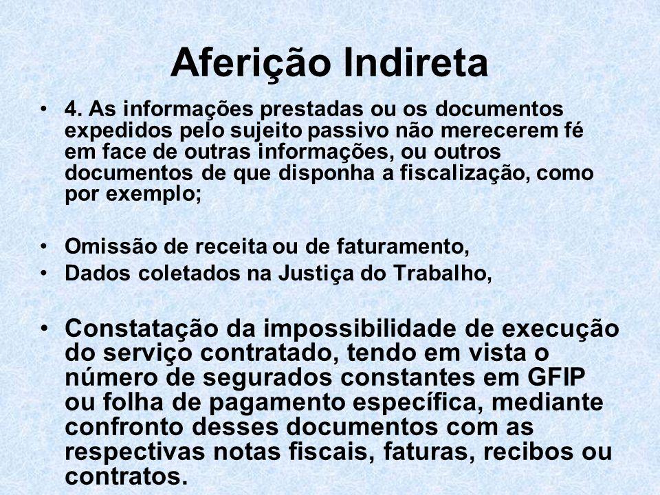 Aferição Indireta 4. As informações prestadas ou os documentos expedidos pelo sujeito passivo não merecerem fé em face de outras informações, ou outro