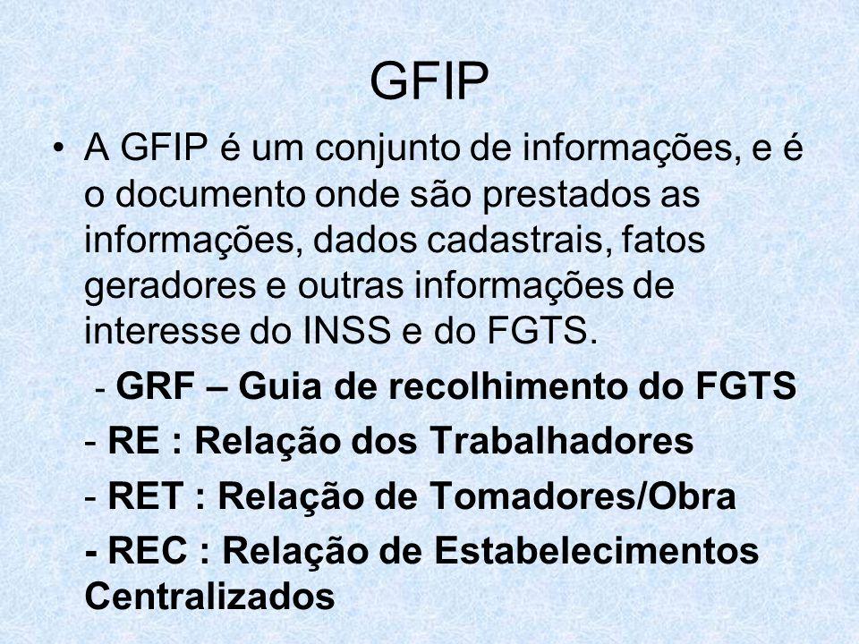 GFIP A GFIP é um conjunto de informações, e é o documento onde são prestados as informações, dados cadastrais, fatos geradores e outras informações de