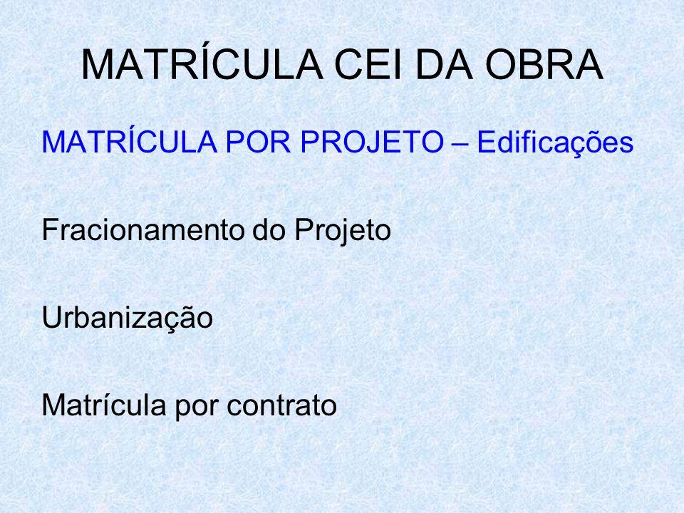 MATRÍCULA CEI DA OBRA MATRÍCULA POR PROJETO – Edificações Fracionamento do Projeto Urbanização Matrícula por contrato