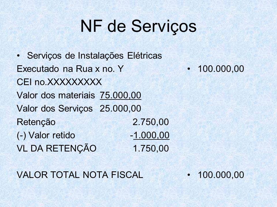 NF de Serviços Serviços de Instalações Elétricas Executado na Rua x no. Y CEI no.XXXXXXXXX Valor dos materiais 75.000,00 Valor dos Serviços 25.000,00