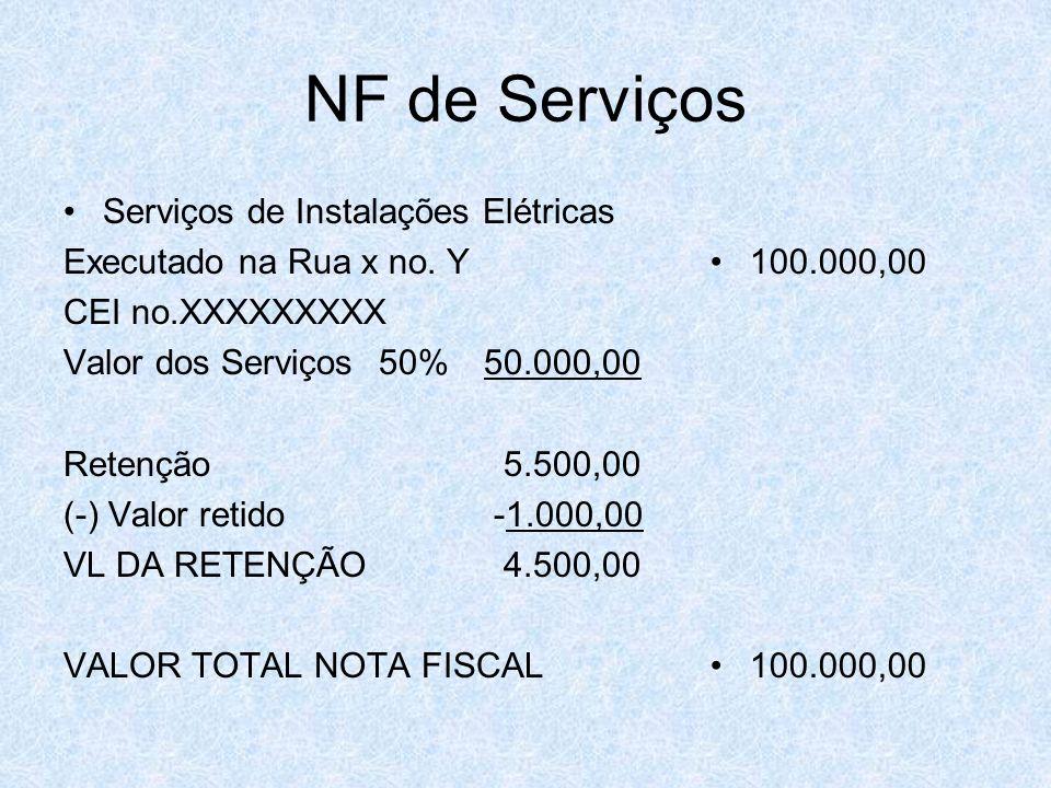 NF de Serviços Serviços de Instalações Elétricas Executado na Rua x no. Y CEI no.XXXXXXXXX Valor dos Serviços 50%50.000,00 Retenção 5.500,00 (-) Valor