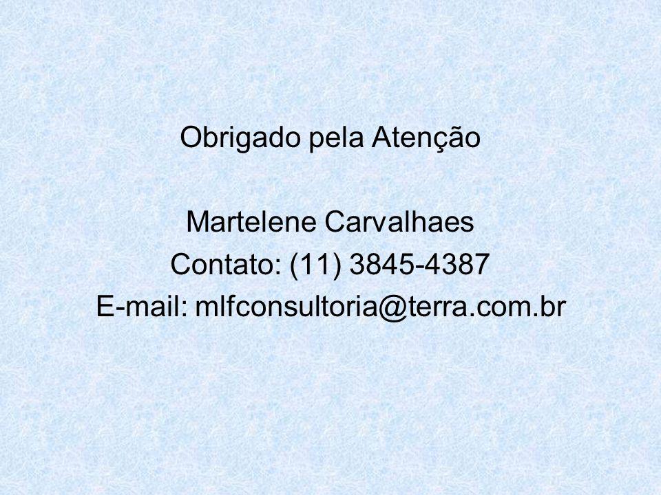 Obrigado pela Atenção Martelene Carvalhaes Contato: (11) 3845-4387 E-mail: mlfconsultoria@terra.com.br
