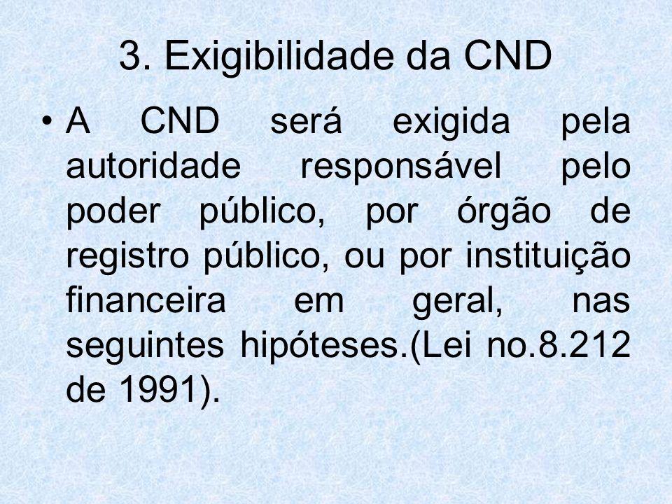 3. Exigibilidade da CND A CND será exigida pela autoridade responsável pelo poder público, por órgão de registro público, ou por instituição financeir