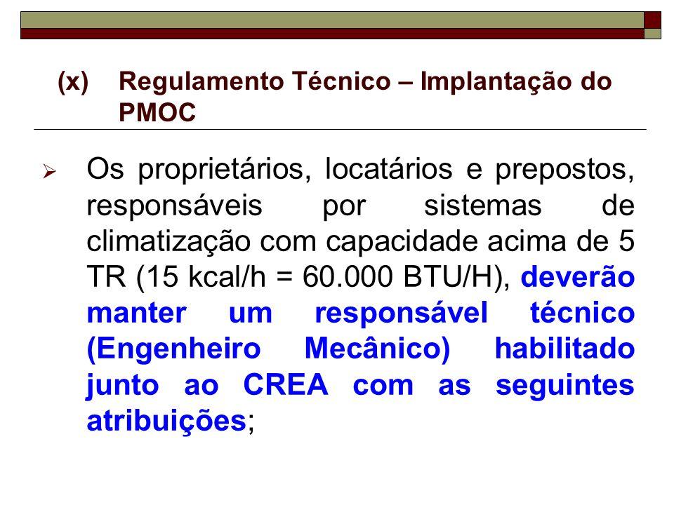 (x)Regulamento Técnico – Implantação do PMOC Os proprietários, locatários e prepostos, responsáveis por sistemas de climatização com capacidade acima
