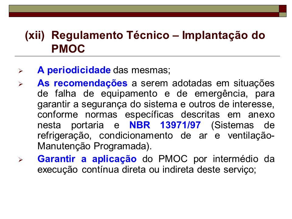 (xii)Regulamento Técnico – Implantação do PMOC A periodicidade das mesmas; As recomendações a serem adotadas em situações de falha de equipamento e de